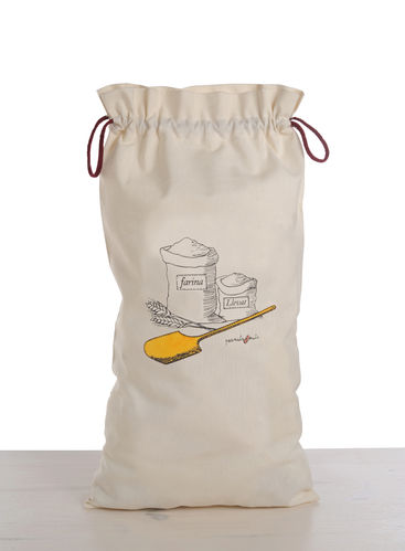 bread bag with drawing of flour