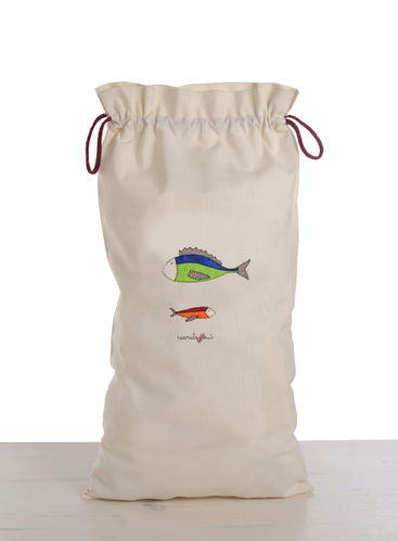 Bag of bread with a drawing of two fish